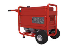 Portable Generator. 3D digital render of a red portable generator isolated on white background Stock Images
