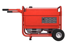 Portable Generator. 3D digital render of a red portable generator isolated on white background Royalty Free Stock Photo