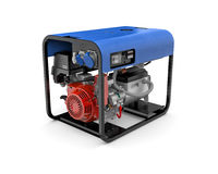 Portable generator isolated on a white background. Three-dimensional illustration of portable gasoline generator isolated on a white background Royalty Free Stock Photos