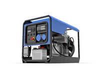 Portable generator isolated on a white background. Three-dimensional illustration of portable gasoline generator isolated on a white background Stock Image
