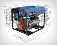 Portable generator isolated on a white background. Three-dimensional illustration of a gasoline generator set with engineering drawings and sketches isolated on Stock Photo