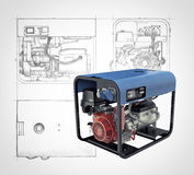 Portable generator isolated on a white background. Three-dimensional illustration of a gasoline generator set with engineering drawings and sketches isolated on Stock Image
