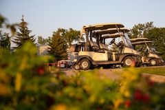 Portable Golf Cart. Golfing. golf carts stock images