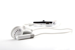 Portable grey headphones with player Stock Photography