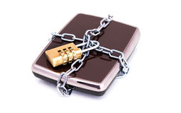 Portable hard drive disk and padlock Royalty Free Stock Photography