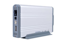 Portable HDD 3.5. Portable Hard Drive 3.5  on the stand. Back view Stock Photos