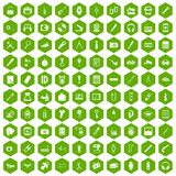 100 portable icons hexagon green Royalty Free Stock Photography