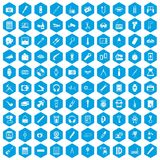 100 portable icons set blue. 100 portable icons set in blue hexagon isolated vector illustration vector illustration
