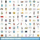 100 portable icons set, cartoon style. 100 portable icons set in cartoon style for any design vector illustration royalty free illustration