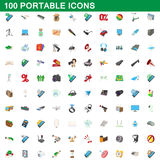 100 portable icons set, cartoon style. 100 portable icons set in cartoon style for any design vector illustration stock illustration