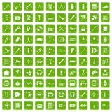 100 portable icons set grunge green. 100 portable icons set in grunge style green color isolated on white background vector illustration Stock Image