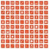 100 portable icons set grunge orange. 100 portable icons set in grunge style orange color isolated on white background vector illustration Royalty Free Stock Photography