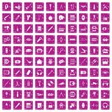 100 portable icons set grunge pink. 100 portable icons set in grunge style pink color isolated on white background vector illustration Stock Photos