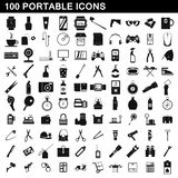 100 portable icons set, simple style. 100 portable icons set in simple style for any design illustration vector illustration