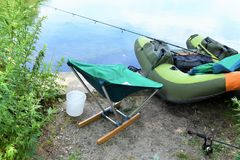 Portable inflatable utube modern chair fishing. Portable technologies useful in sport activity as fishing , can somebody believe or not , but portable inflatable Stock Image