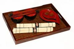Portable isolado que janta o chinês ajustado na perspectiva Fotos de Stock