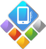 Portable Media Device Square Icon. In multiple colors Stock Photography