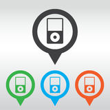 Portable media player icon. Flat design style. icon map pin Stock Photo