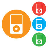 Portable media player icon. Flat design style. Round colourful buttons Stock Photo