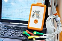 Portable medical equipment for ECG. With laptop Stock Photos