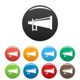 Portable megaphone icons set color vector. Portable megaphone icon. Simple illustration of portable megaphone vector icons set color isolated on white Royalty Free Stock Images