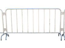 Portable metallic fence isolated over white Stock Photo