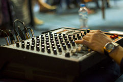 Portable mixing board. Portable mixing console on the literary evening Royalty Free Stock Photo
