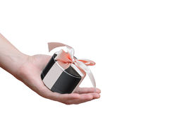 Portable mobile speaker, tied with a pink ribbon Royalty Free Stock Image