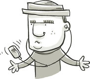 Portable Music Player. A cartoon man listening to a portable music player Royalty Free Stock Photo