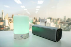 Portable music speaker light with wireless bluetooth speak Royalty Free Stock Image