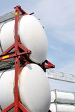 Portable oil and chemical storage tanks stock photo