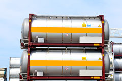 Portable oil and chemical storage tanks Royalty Free Stock Images