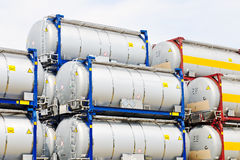 Portable oil and chemical storage tanks Stock Images