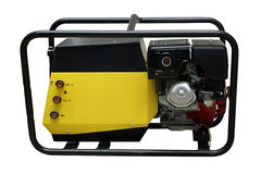 The portable petrol generator. Of a current separately on a white background Stock Photo