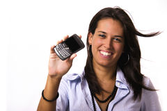 Portable phone. Business girl with portable phone Royalty Free Stock Images