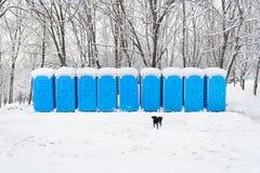 Portable plastic bio toilets Stock Photo