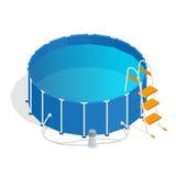 Portable plastic swimming pool isometric 3d vector illustration. vector illustration