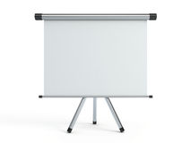 Portable projection screen. Blank portable projection screen isolated Stock Photo