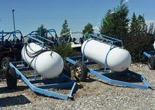 Portable Propane. Large portable propane tanks on trailers Stock Photo