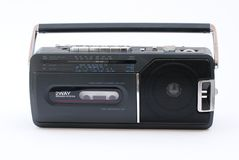 Portable Radio Cassette recorder. Compact radio cassette of eighties design Stock Photography