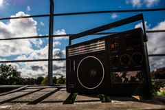 Portable Radio. In front of a blue sky Royalty Free Stock Photography