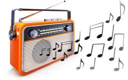 Portable radio and music notes Stock Photos