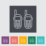 Portable radio. Outline icon on the button. Vector illustration Stock Photo