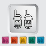 Portable radio. Outline icon on the button. Vector illustration Royalty Free Stock Photo