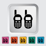 Portable radio. Single flat icon on the button. Vector illustration Stock Photos
