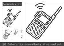 Portable radio set line icon. Royalty Free Stock Photo
