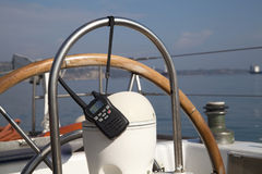 Portable radio set on yacht Royalty Free Stock Image