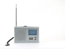 Gray portable radio isolated on white background. Devices which are popular in the past for music and news Royalty Free Stock Image