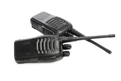 Portable radios Walkie-talkie on white Stock Image