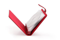 Portable red CD/DVD case Stock Photo